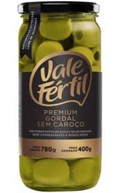 Azeitona Verde Gordal Premium Sem Caroço Vale Fértil Vidro 400g