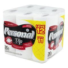 Papel Higiênico Personal Folha Dupla Vip Neutro Leve 12 Pague 11 Fardo 6x12x30 Metros